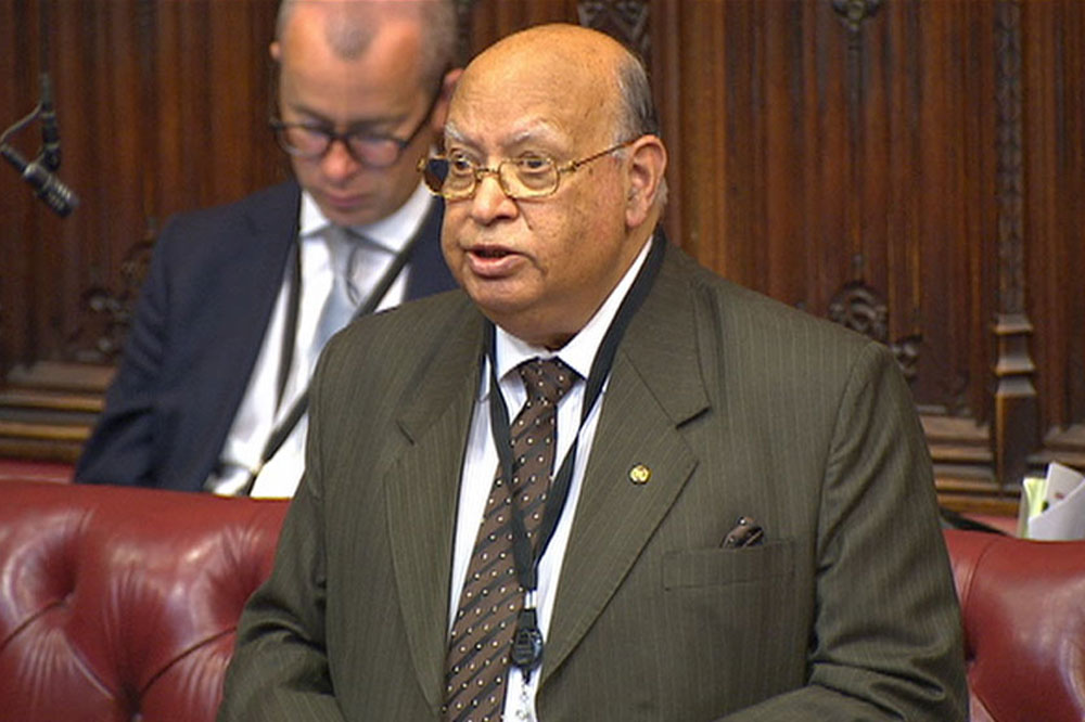 Lord Loomba speaking in he House of Lords